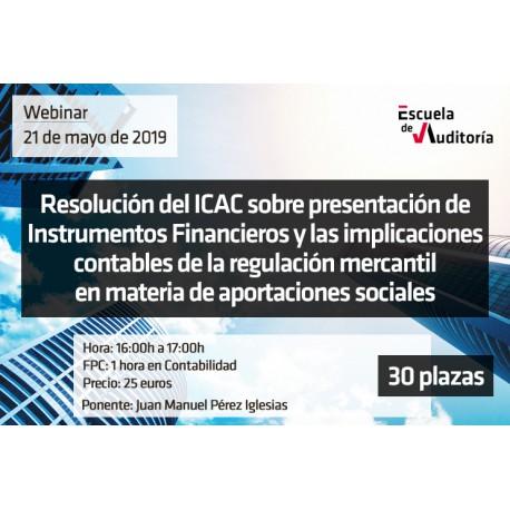 Resolución ICAC presentación instrumentos financieros