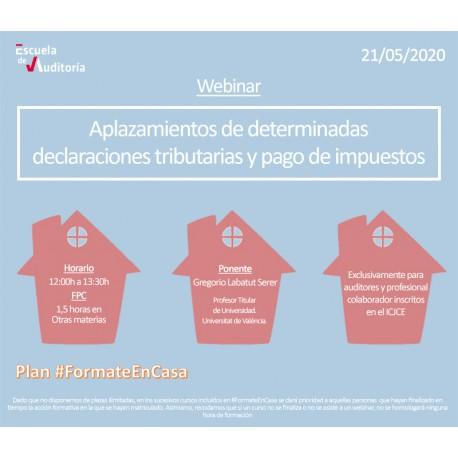 50178220 - Aplazamiento de determinadas declaraciones tributarias y pago de impuestos
