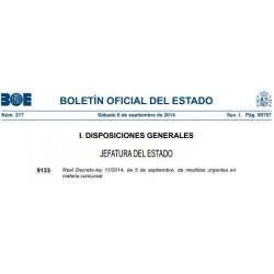 Real Decreto- ley 11/2014, de 5 de Septiembre, de medidas urgentes en materia concursal.